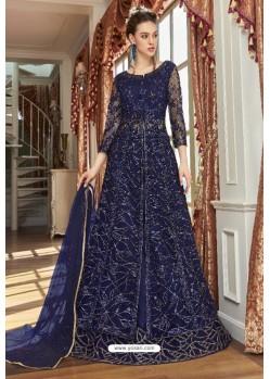 Navy Blue Net Designer Party Wear Gown