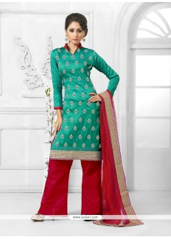 Outstanding Cotton Teal Designer Palazzo Salwar Suit