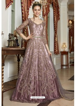 Incredible Dusty Pink Net Designer Party Wear Gown