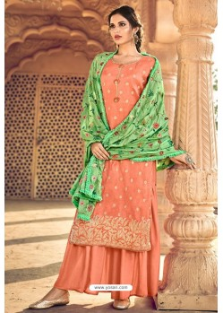 Orange Pure Dolla Silk Jacquard Palazzo Suit