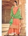 Orange Pure Dolla Silk Jacquard Palazzo Suit