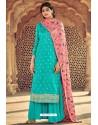 Firozi Pure Dolla Silk Jacquard Palazzo Suit