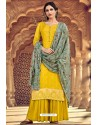 Yellow Pure Dolla Silk Jacquard Palazzo Suit