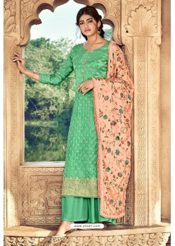Jade Green Pure Dolla Silk Jacquard Palazzo Suit