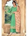 Jade Green Pure Dolla Silk Jacquard Palazzo Suit
