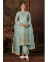 Sky Blue Net Designer Straight Suit
