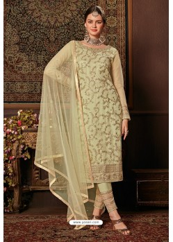 Olive Green Net Designer Straight Suit