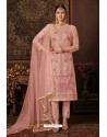 Pink Net Designer Straight Suit