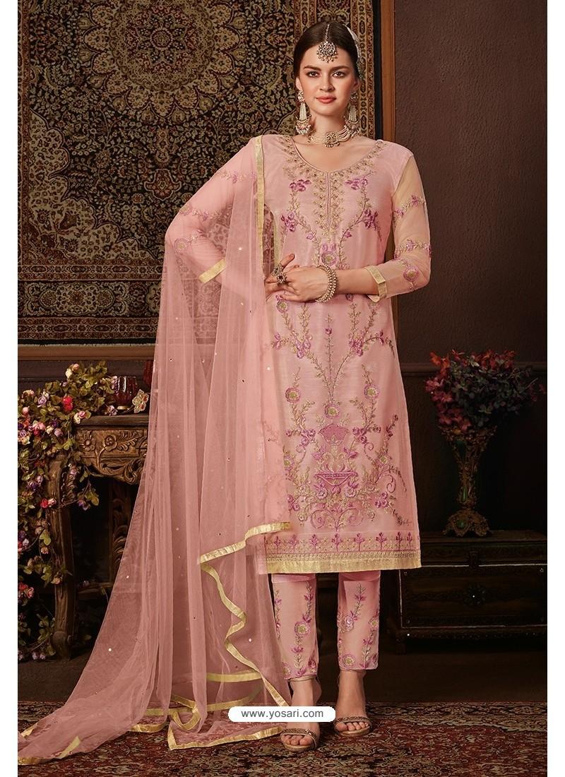 Pink Net Designer Straight Suit