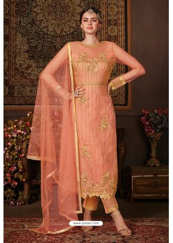 Light Red Net Designer Straight Suit