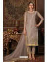 Light Brown Net Designer Straight Suit