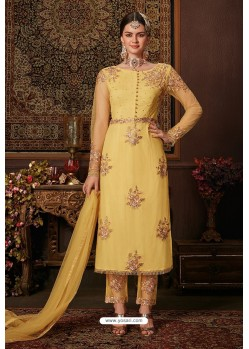 Yellow Net Designer Straight Suit