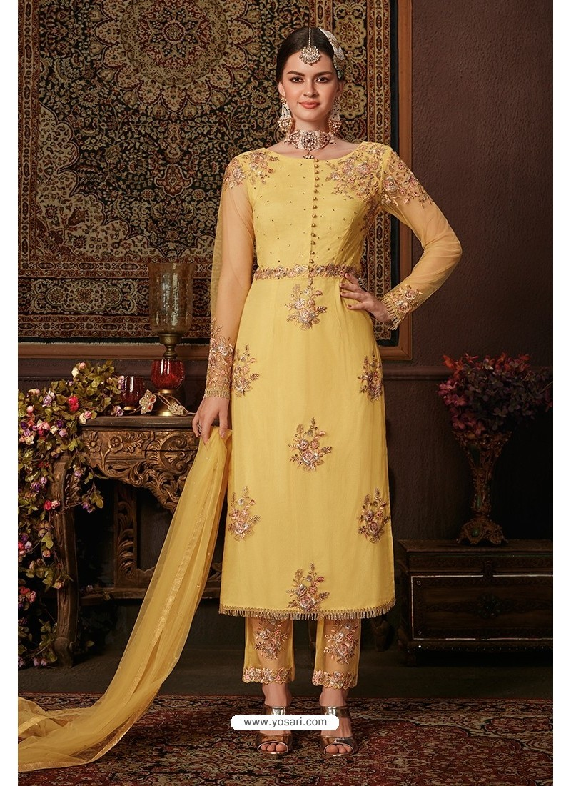 Yellow Net Designer Straight Suit