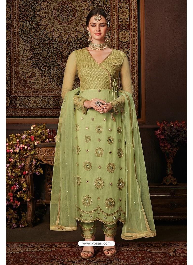 Green Net Designer Straight Suit