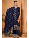 Navy Blue Dolla Jacquard Designer Straight Suit