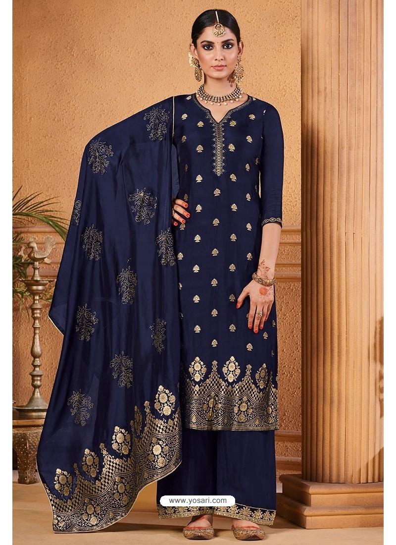 Navy Blue Dolla Jacquard Designer Straight Suit