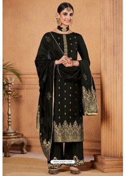 Black Dolla Jacquard Designer Straight Suit