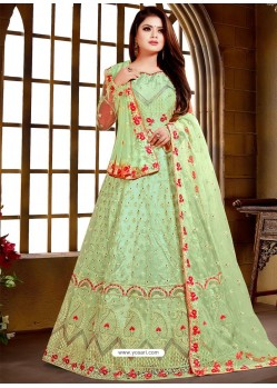Green Net Hand Worked Designer Party Wear Gown