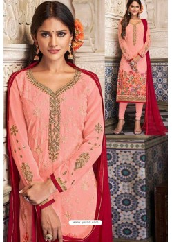 Beautiful Pink Georgette Digital Printed Churidar Suit