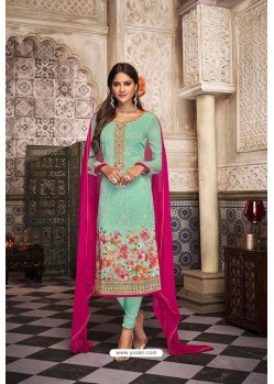 Sea Green Georgette Digital Printed Churidar Suit