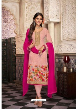 Pink Georgette Digital Printed Churidar Suit