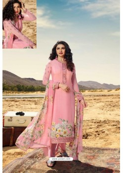 Pink Crepe Stylish Straight Suit
