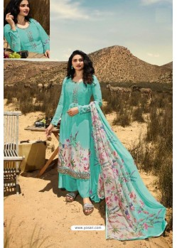 Sky Blue Crepe Stylish Straight Suit