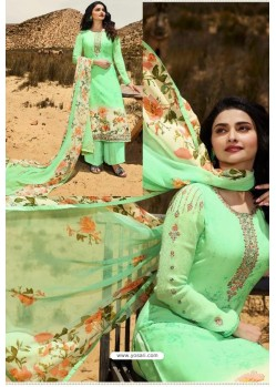 Green Crepe Stylish Straight Suit