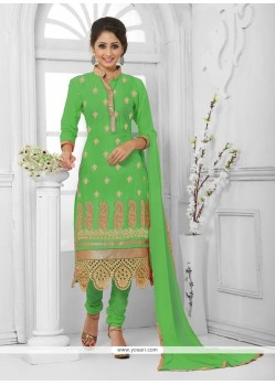 Pleasing Green Embroidered Work Cotton Churidar Salwar Kameez