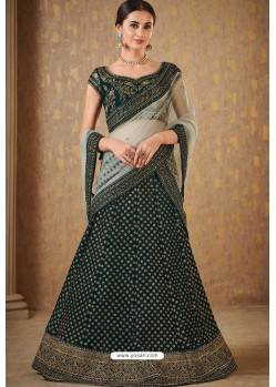 Dark Green Naylon Satin Embroidered Lehenga Choli