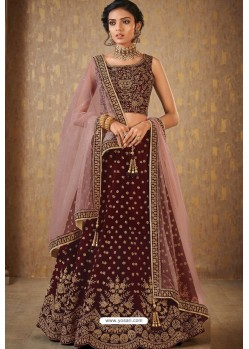 Maroon Mulberry Embroidered Lehenga Choli