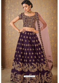 Purple Banarasi Embroidered Lehenga Choli