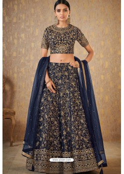 Navy Blue Banarasi Embroidered Lehenga Choli