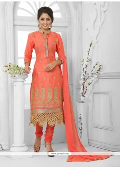 Heavenly Cotton Orange Zari Work Churidar Designer Suit