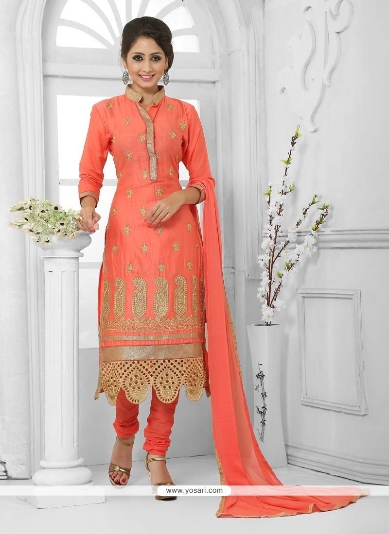 Heavenly Cotton Orange Zari Work Churidar Designer Suit
