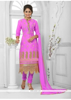 Regal Cotton Hot Pink Churidar Designer Suit
