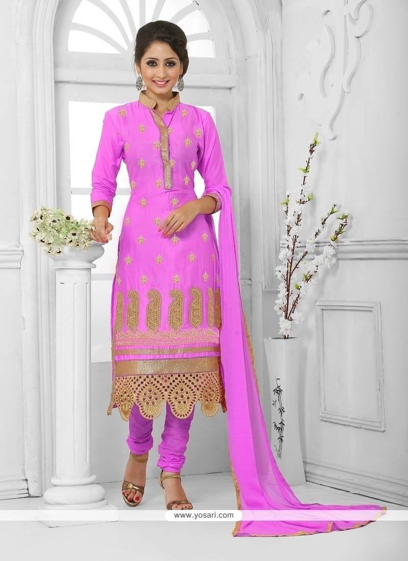 Regal Cotton Hot Pink Churidar Designer Suit