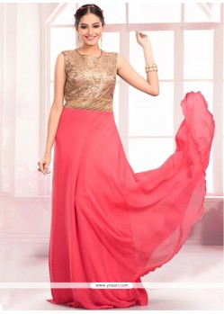 Whimsical Sequins Work Floor Length Gown