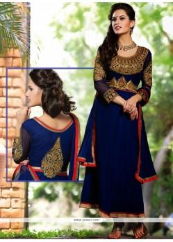 Royal Blue Georgette Resham Anarkali Salwar Suit