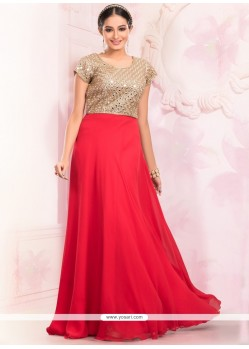 Flawless Faux Georgette Red Floor Length Gown