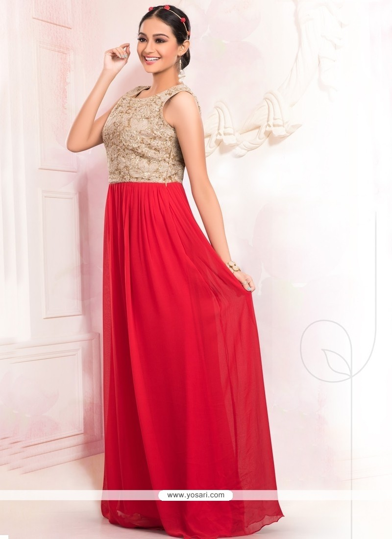 Extraordinary Faux Georgette Red Floor Length Gown