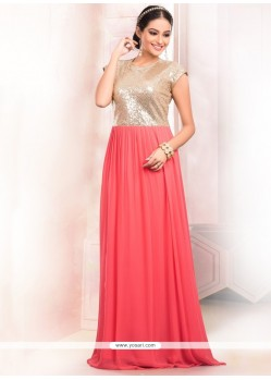 Fab Peach Floor Length Gown