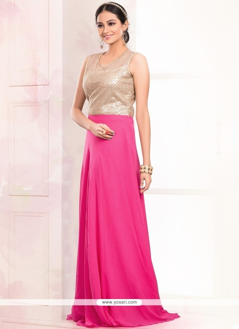 Faux Georgette Hot Pink Sequins Work Floor Length Gown