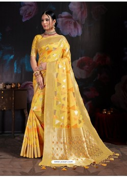 Stylish Yellow Banarasi Cotton Silk Designer Saree