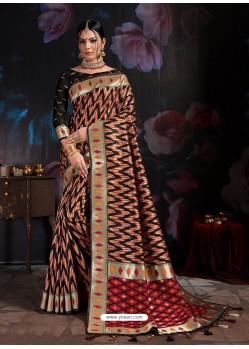 Latest Black Banarasi Cotton Silk Designer Saree