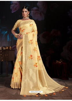 Pretty Yellow Banarasi Cotton Silk Designer Saree