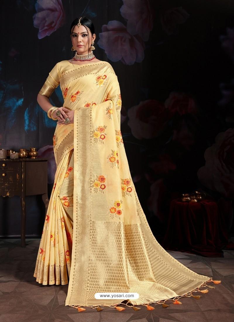 Pretty Yellow Banarasi Cotton Silk Designer Saree