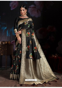 Amazing Black Banarasi Cotton Silk Designer Saree