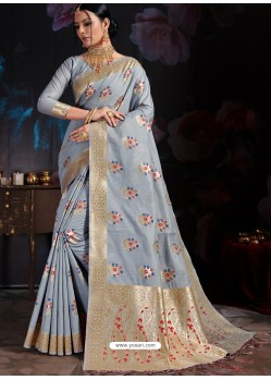 Aqua Grey Banarasi Cotton Silk Designer Saree