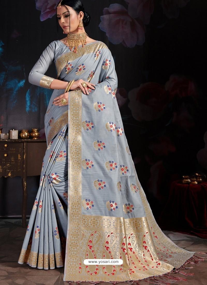Aqua Grey Banarasi Cotton Silk Designer Saree